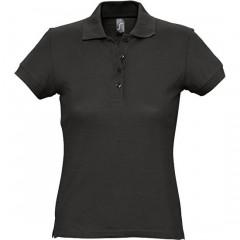Polo femme, Noir, manches courtes, classique