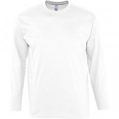 Tee-shirt manches longues, Blanc, homme, col rond