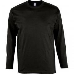 Tee-shirt manches longues, Noir, homme, col rond