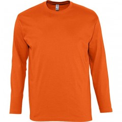 Tee-shirt manches longues, Orange, homme, col rond