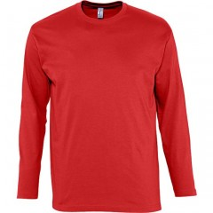 Tee-shirt manches longues, Rouge, homme, col rond