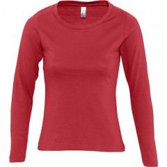 Tee-shirt femme, Rouge, manches longues
