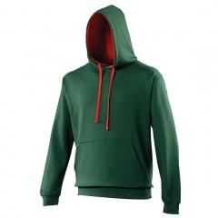 Sweat a capuche bicolore,Vert Bouteille-Rouge