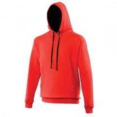 Sweat a capuche bicolore, rouge-Noir, Varsity Hoodie