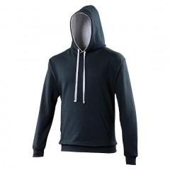Sweat a capuche bicolore, Marine- Gris clair