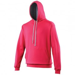 Sweat a capuche bicolore, Fuchsia-Gris, Varsity Hoodie