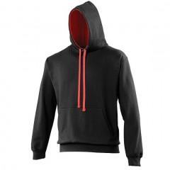 Sweat a capuche bicolore, Noir-Rouge, Varsity Hoodie