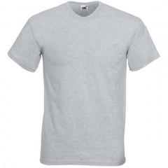 Tee-shirt tendance, Gris Chiné, petit col en V