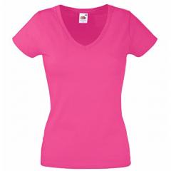 Tee-shirt femme, col en V, Fuchsia, près du corps