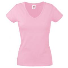 Tee-shirt femme, col en V, Rose, près du corps
