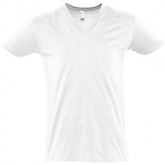 T shirt, Blanc, col V profond, MASTER SOL'S