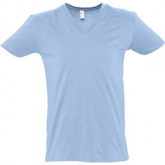 T shirt, Bleu Ciel, col V profond, MASTER SOL'S