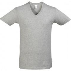T shirt, Gris Chiné, col  V profond, MASTER SOL 'S
