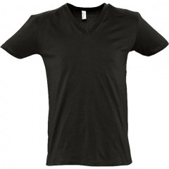 t shirt, Noir, col V profond, MASTER SOL'S