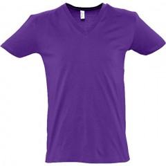 T shirt, Violet Foncé, col V profond, MASTER SOL'S