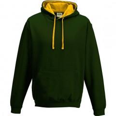 sweat capuche bicolore, Vert forêt Jaune d'or