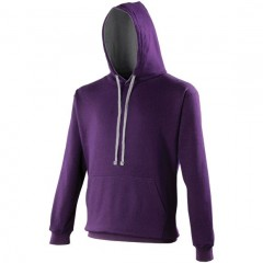 sweat a capuche bicolore, Violet- Gris clair