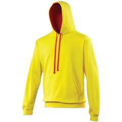 sweat a capuche bicolore, Jaune-Rouge